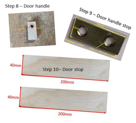 sizes of wooden box door handle
