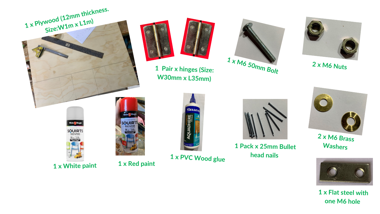 materials needed to make a wooden mailbox toy
