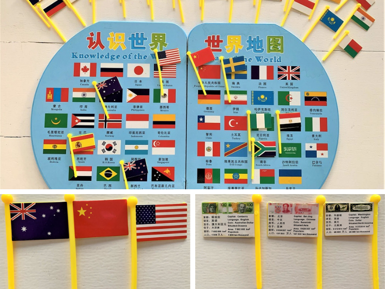 bilingual world map with english and chinese for kids